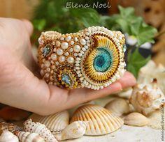 Елена Ноэль (ElenNoel) Beautiful Blue Sea - Браслет с керамическим голубым аммонитом