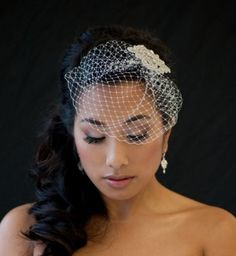 DENISE Birdcage Veil with rhinestone comb    This is a handcrafted petite 7 Russian tulle birdcage veil with rhinestone comb. It has a 3 3/4