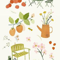 Ilustrations for the Libelle NL garden special. #illustrations #garden #gardening #spring #letsgooutside #gardenillustration #lottedirks #libelletuinenzo