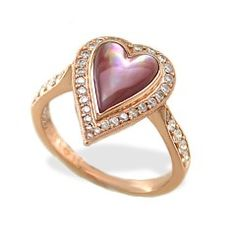 Rose Gold Kabana Heart Ring with Pink Mother of Pearl Inlay and Diamonds - Rings - Jewelry Type