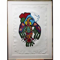 """NORVAL MORRISSEAU (NATIVE CANADIAN, 1931-2007) SHAMAN THUNDERBIRDCOLOUR SERIGRAPH; TITLED LOWER LEFT; SIGNED LOWER RIGHT; NUMBERED 9/75 TO PUBLISHERS - ALVO CANADIAN ART INC. EMBOSSED AUTHENTICATION SEAL (Sheet, 33.5"""" x 23.5"""")Estimate: $500—600 Native Canadian, Canadian Art, Woodlands School, Number 9, Native American Fashion, First Nations, Native Americans, Emboss, Acrylics"""