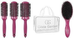 Olivia Garden Ceramic Ion Pink Edition - Kit 4 Perii