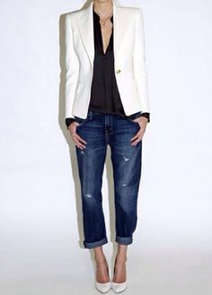 .... Outfits Otoño, Blazer Outfits, Denim Outfit, Fashion Outfits, Work Outfits, Casual Jeans, Casual Chic, Casual Fridays, Casual Weekend