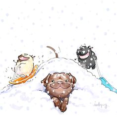 Dog Sledding - funny pug Christmas card, customized holiday card, chocolate lab, pitbull, black pug Season's Greetings cards by Inkpug Pug Cartoon, Cute Cartoon Animals, Cute Animals, Pug Illustration, Winter Illustration, Pug Love, I Love Dogs, Black Pug Puppies, Pug Christmas
