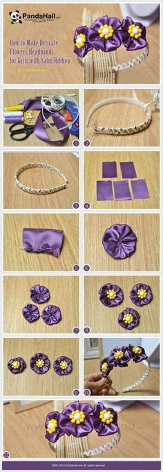 Jewelry Making Tutorial-How to Make Delicate Flower Headbands with Satin Ribbon   PandaHall Beads Jewelry Blog