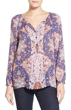 Lucky Brand Tile Print Peasant Top available at #Nordstrom