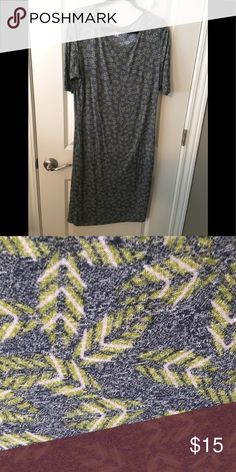LuLaRoe Julia (XL) LuLaRoe Julia  Size: L Color: blue/gray with green Fitted, soft and stretchy! LuLaRoe Dresses