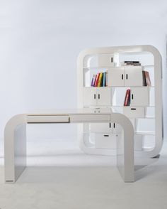 Signalement handcrafts modern furniture that has simple clean lines that feature strong curves but still keep in line with a Danish minimalist feel. Handmade Furniture, Home Decor Furniture, Kitchen Furniture, Furniture Design, Furniture Ideas, Contemporary Desk, Guest Room Office, Home Desk, Modern Loft