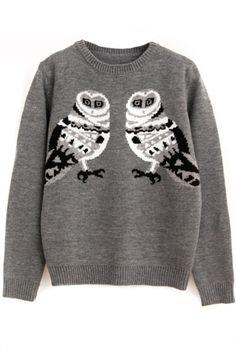 Graphic Owl Print Grey Sweater