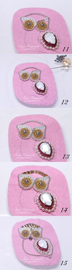 Brooch with a crystal, pearls and paillettes. A master class - the Fair of Masters - handwork, handmade // Martha Foss Bead Embroidery Patterns, Embroidery Jewelry, Beaded Embroidery, Beading Patterns, Beaded Brooch, Beaded Earrings, Beaded Jewelry, Handmade Jewelry, Beaded Bracelets