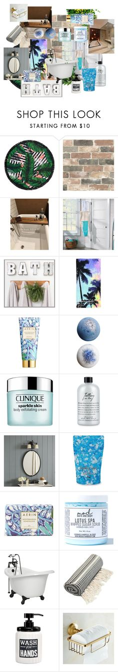 BATH by kaoriihayashi on Polyvore featuring Forever 21, AERIN, philosophy, Mod Bath and Body, Clinique, Improvements, Ballard Designs, Avanti, LaMont and Wall Pops!
