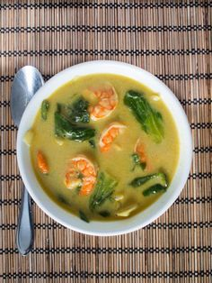 Thai Soup with Shrimp - An easy weeknight meal for Lent - Shrimp and Petite Shanghai cabbage cooked in coconut milk - Lenten Recipes