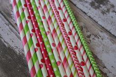 25 Watermelon Party Straws -- Pink, Lime Green Paper Drinking Straws via Etsy