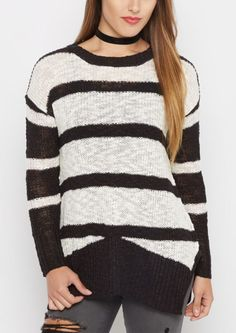 Striped Marilyn Tunic Sweater- Black and White Christmas? | Pretty ...