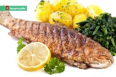 Photo about Pan fried trout with potato and spinach. Pan Fried Trout, Grilled Trout, Czech Recipes, Calamari, Fish And Seafood, Food Inspiration, Spinach, Sausage, Fries