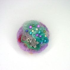 Heather  Pink Green Silver Star Charm Brooch  UK by Pookledo, £6.00