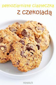 posmakujto!   Pełnoziarniste ciasteczka z czekoladą Healthy Sweets, Deserts, Food And Drink, Cooking Recipes, Cookies, Interior, Diet, Biscuits, Kuchen