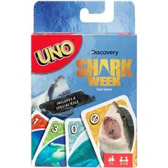 Uno Card Game, Shark Week Theme, for 2 to 10 Players Ages 7 Years and Older Kings Card Game, Uno Card Game, Uno Cards, Card Games, Shark Images, Shark Photos, Shark Tank Games, Discovery Shark Week