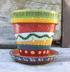 Hand Painted Terracotta Flower Clay Pot and Saucer  by 3crows, $22.00