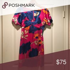 Susana Monaco silk dress Pink with blue abstract floral pattern.  Deep scoop neck.  Silk.  Perfect condition. Susana Monaco Dresses Mini