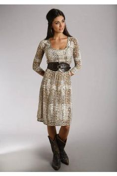 Women's Brown Leopard Print Burnout Dress Stetson Ladies Collect Western Clothing