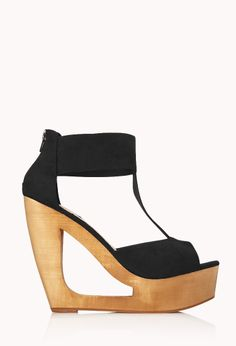 Retro Cutout Wedges | FOREVER21 Cut it out #Cute #MustHave #FauxSued #Platform