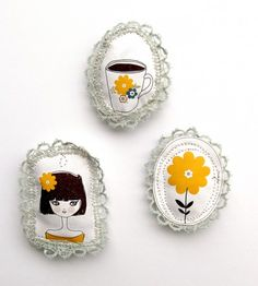 handmade brooches ~ via Bettina M.