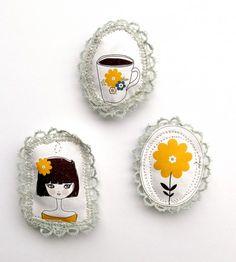 handmade brooches ~ via Bettina M.