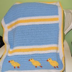 Baby Chicks Crochet Blanket-blue yellow and by MadeinMassachusetts