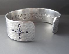 Direction of Your Dreams - Henry David Thoreau - Custom Silver Cuff Bracelet with Compass on Etsy, $29.99