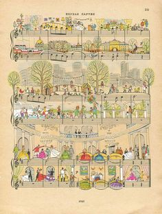 On Note: Miniature Illustrations on Sheet Music by Lena Erlich Sheet Music Crafts, Sheet Music Art, Comics Illustration, Illustrations, Piano Y Violin, Cello, Music Pictures, Anime Comics, Music Notes
