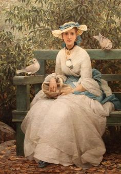"""""""Feeding The Doves"""" -- by George Dunlop Leslie (British, 1835–1921)"""