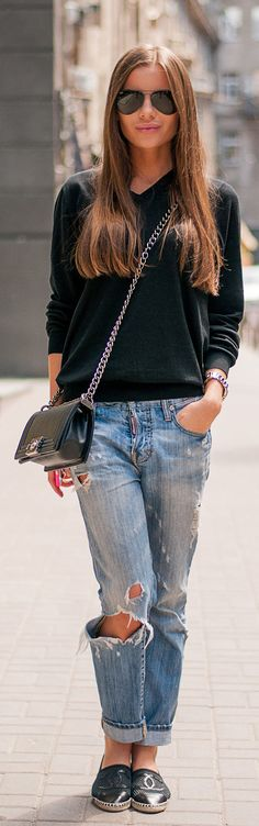 Casual in distressed jeans accessorized w/ Chanel espadrilles & Chanel boy bag #StreetStyle