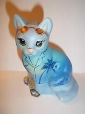 Fenton Glass BLUE HAWAIIAN TROPICAL VACATION CAT GSE LTD ED #6 OF 13 Kim Barley