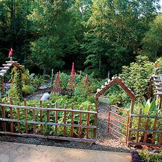 This amazing kitchen garden has many examples of gardening as art and how to creatively and beautifully repurpose materials.
