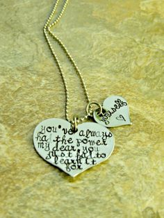Hand Stamped Double Heart Sterling Necklace with Wizard of Oz Quote (Glinda)