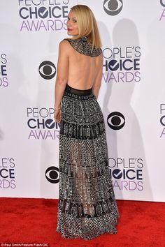 Sheer-ly amazing: Claire Danes sizzled in a backless metallic dress as she arrived to the People's Choice Awards on Wednesday