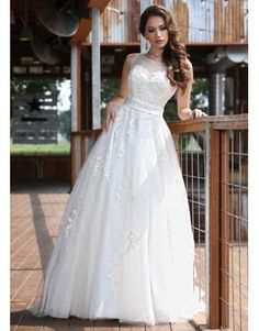 A-linie Ausgefallene Trendige Brautkleider aus Softnetz mit Applikation