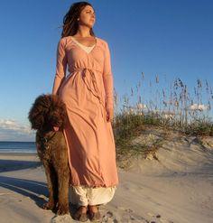 Long Drawstring Wrap Dress (locally milled organic cotton)