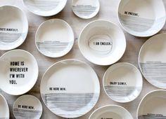 porcelain medium dish modern screen printed text door mbartstudios, $35.00