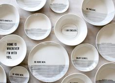 LOVE these!  ||  porcelain medium dish modern screen printed text and graphics.  IN STOCK