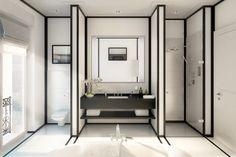 Der Trend in schwarz weiß zu Wohnen zieht auch im Badezimmer ein: Dunkle Linien umrahmen hellen Mamor und geben dem Raum Struktur, Eisenzahn 1 - Ralf Schmitz Immobilien, Berlin