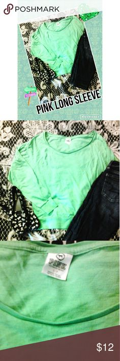 PINK long sleeve Solid green size small PINK long sleeve. PINK Victoria's Secret Tops Tees - Long Sleeve