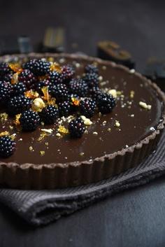 Dark Chocolate Tart with Blackberries and Hazelnut Praline {From The Kitchen}