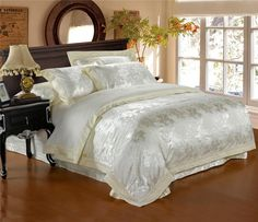 Beautiful Bedding Damask Silk Comforter Sets King Bed Sheets