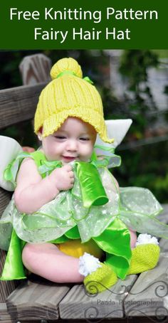 Free Knitting Pattern Fairy Hair Baby Hat Fairy style baby hat inspired by Tinkerbell. Perfect for Halloween costumes or dress up. Designed by Andreanna Pharis who allows sale of the finished project. Worsted weight yarn. Crochet Baby Hats, Crochet For Kids, Baby Knitting, Knitted Hats, Learn Crochet, Free Knitting, Peter Pan, Tinkerbell Outfit, Knitting Patterns