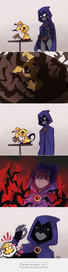 Dawww, Mimikyu and Raven (Pokemon & Teen Titans) Teen Titans Raven, Teen Titans Go, Teen Titans Funny, Pokemon Comics, Pokemon Memes, Pikachu Pikachu, Art Manga, Anime Manga, Cute Comics