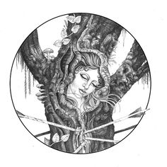 Tree Lady, 2013. Pen & ink.  By Mister Beaudry (Shaun)
