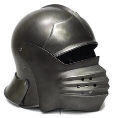 Bellows style medieval sallet helmet for LARP, Cospaly, TV, Film and Theatre Larp Armor, Fantasy Armor, Riding Helmets, Armour, Body Armor