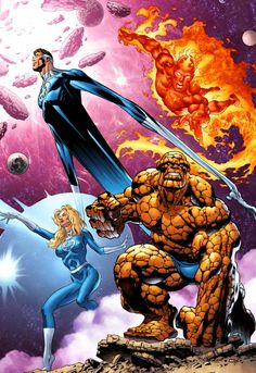 Fantastic Four: Mr. Fantastic, Human Torch, Invisible Woman and Thing - Claudio Castellini and Moose Bauman